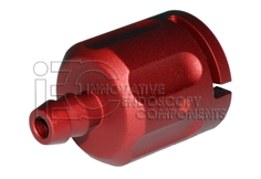 Olympus® Compatible Connector for Leak Tester tool, RED incl. Set screw and O-Ring Alu/Anod.